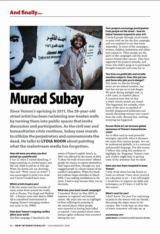 New Internationalist, Murad Subay