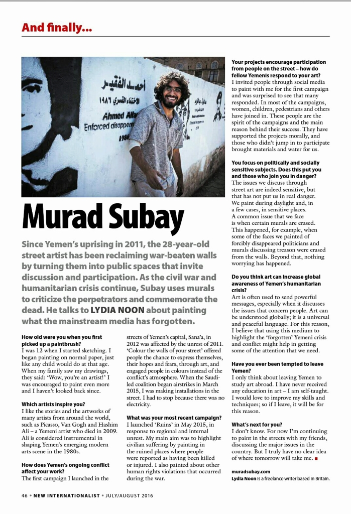 New Internationalist, Murad Subay