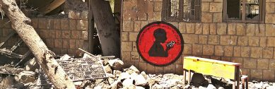 """""""Children Without Schools"""" My mural in the ninth activity in Ruins Campaign, on a remains of Alnajah School, Bani Waleed village."""