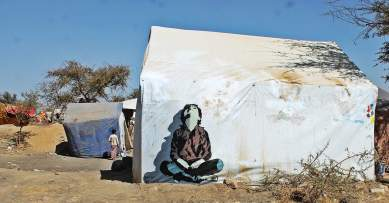 """My mural about displacement people """"Children of Graves"""" Ruins campaign, 6 Feb 2017 displacement camp Amran gov."""