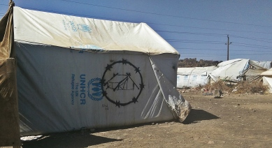"""Mural by the artist: Rasheed Qaid """"Barbed Camps"""" Ruins campaign, about displacement people in Amran gov. 6th Feb 2017."""